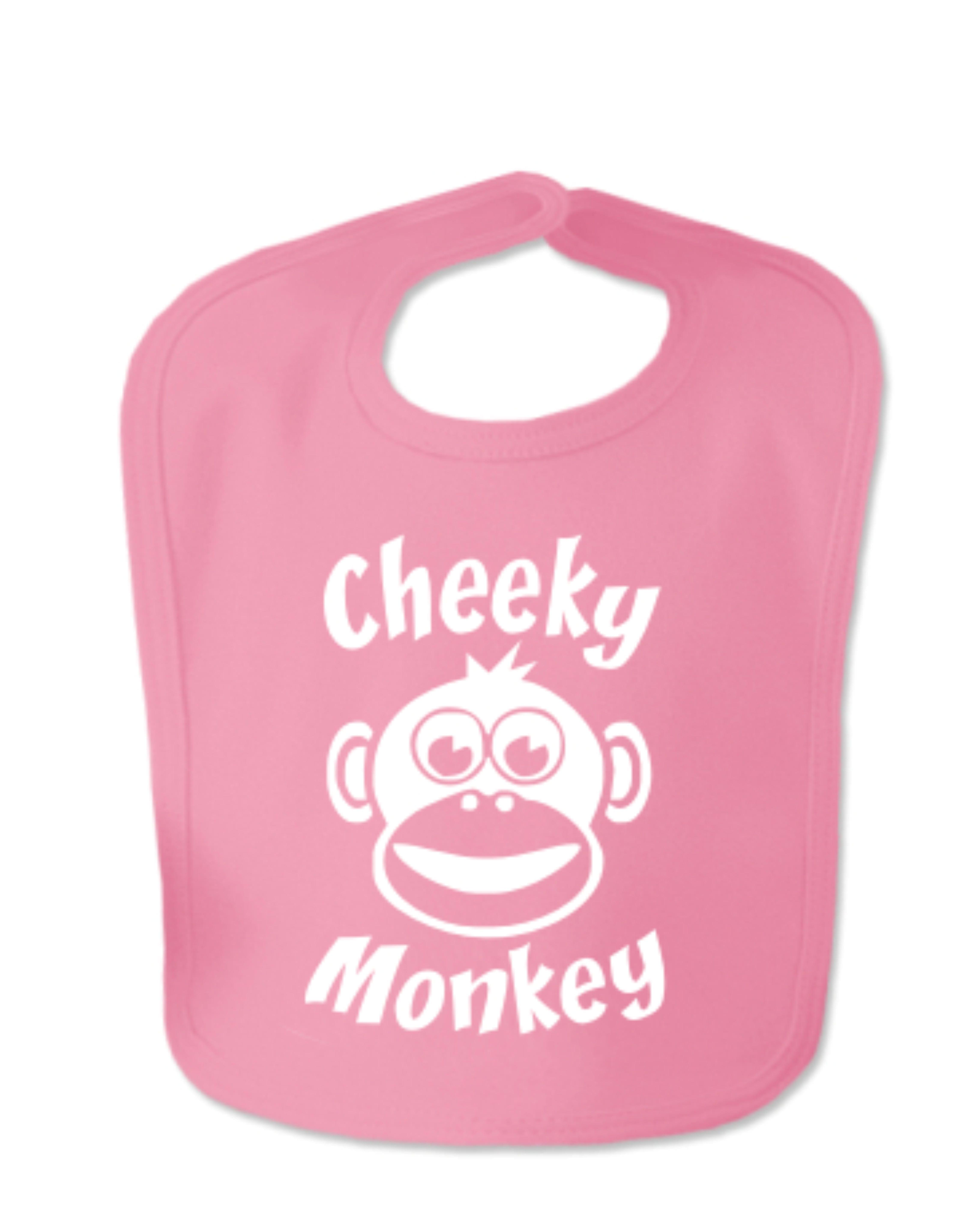Hot Pink Cheeky Monkey Velcro Bib