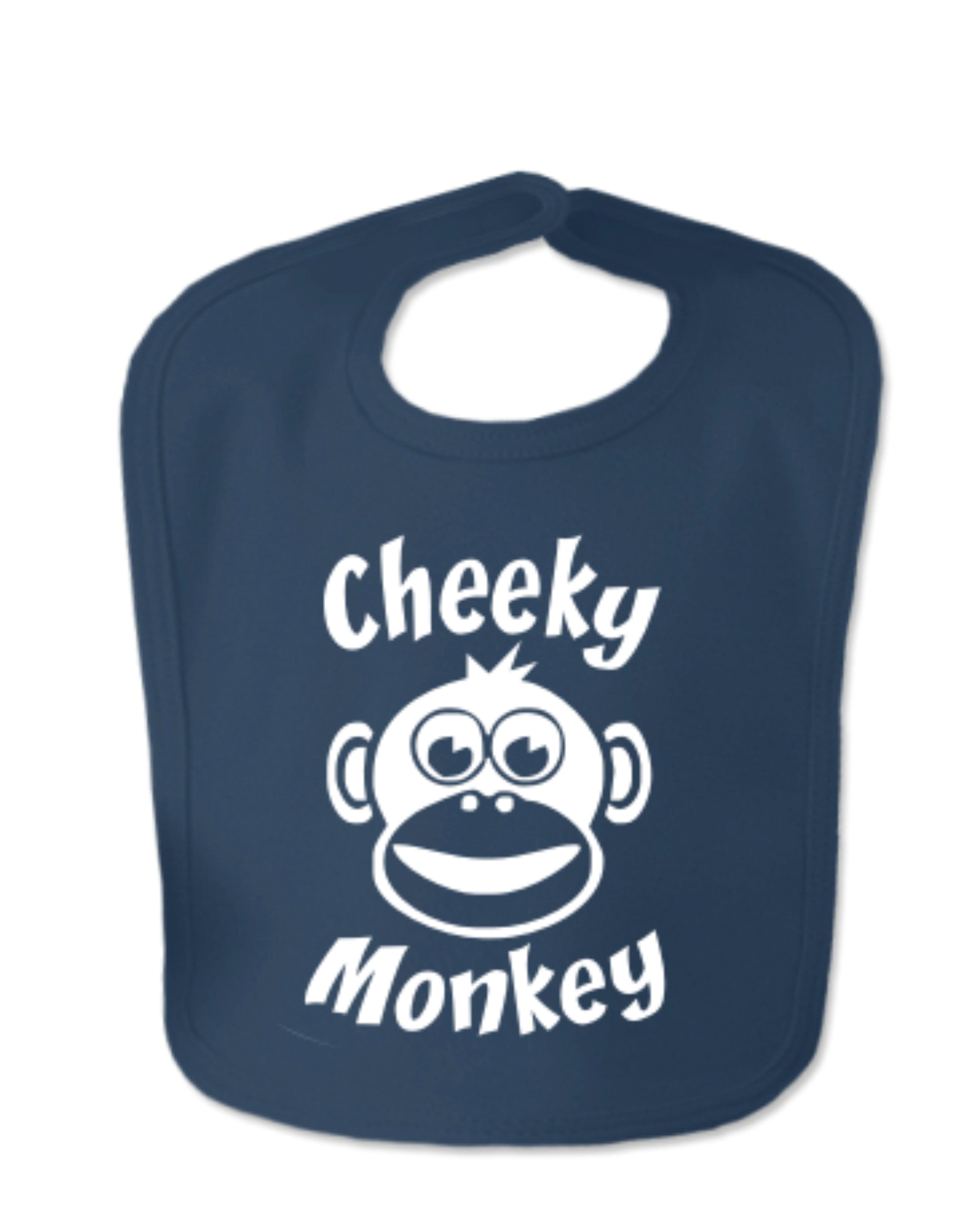 Navy Cheeky Monkey Velcro Bib
