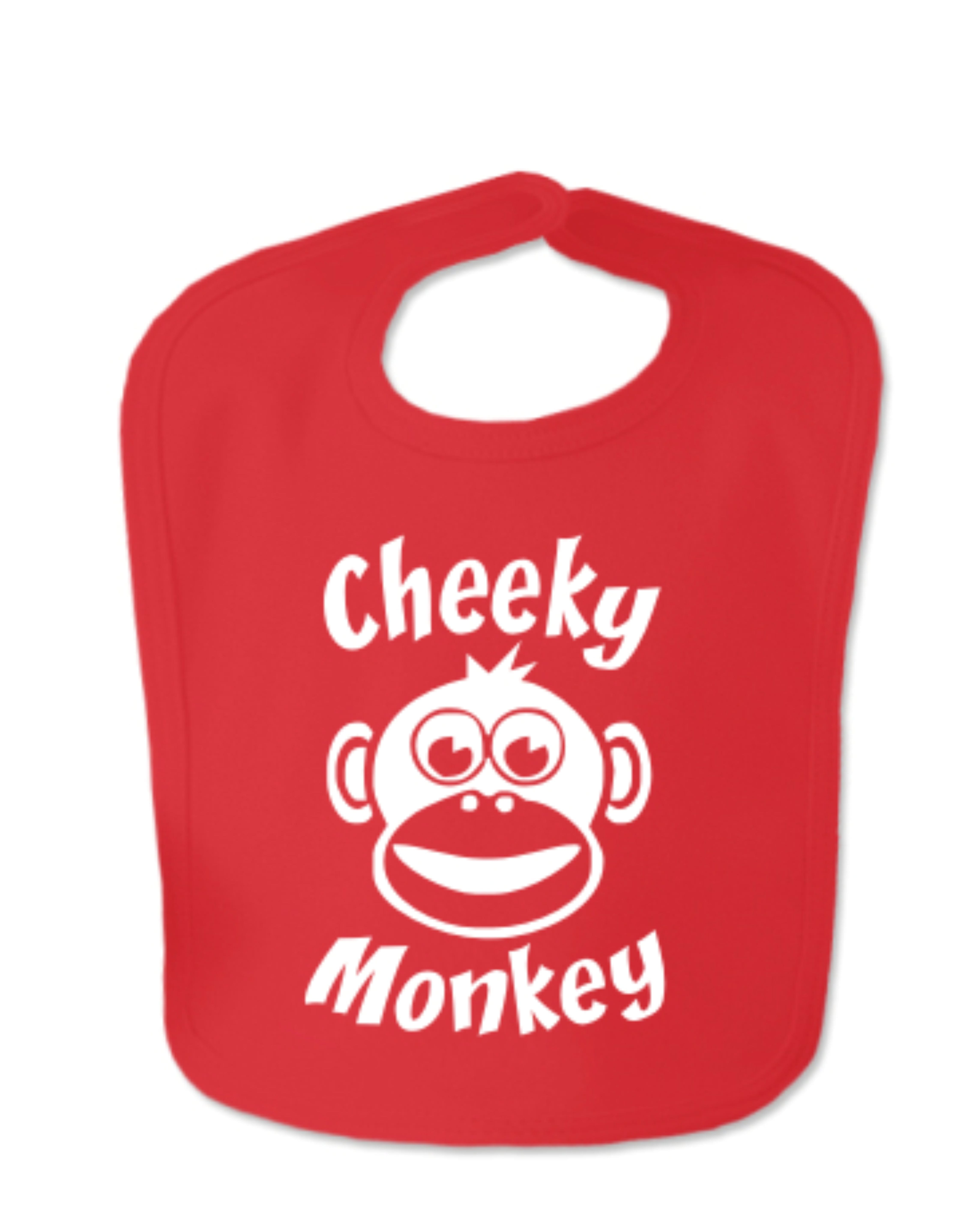 Red Cheeky Monkey Velcro Bib