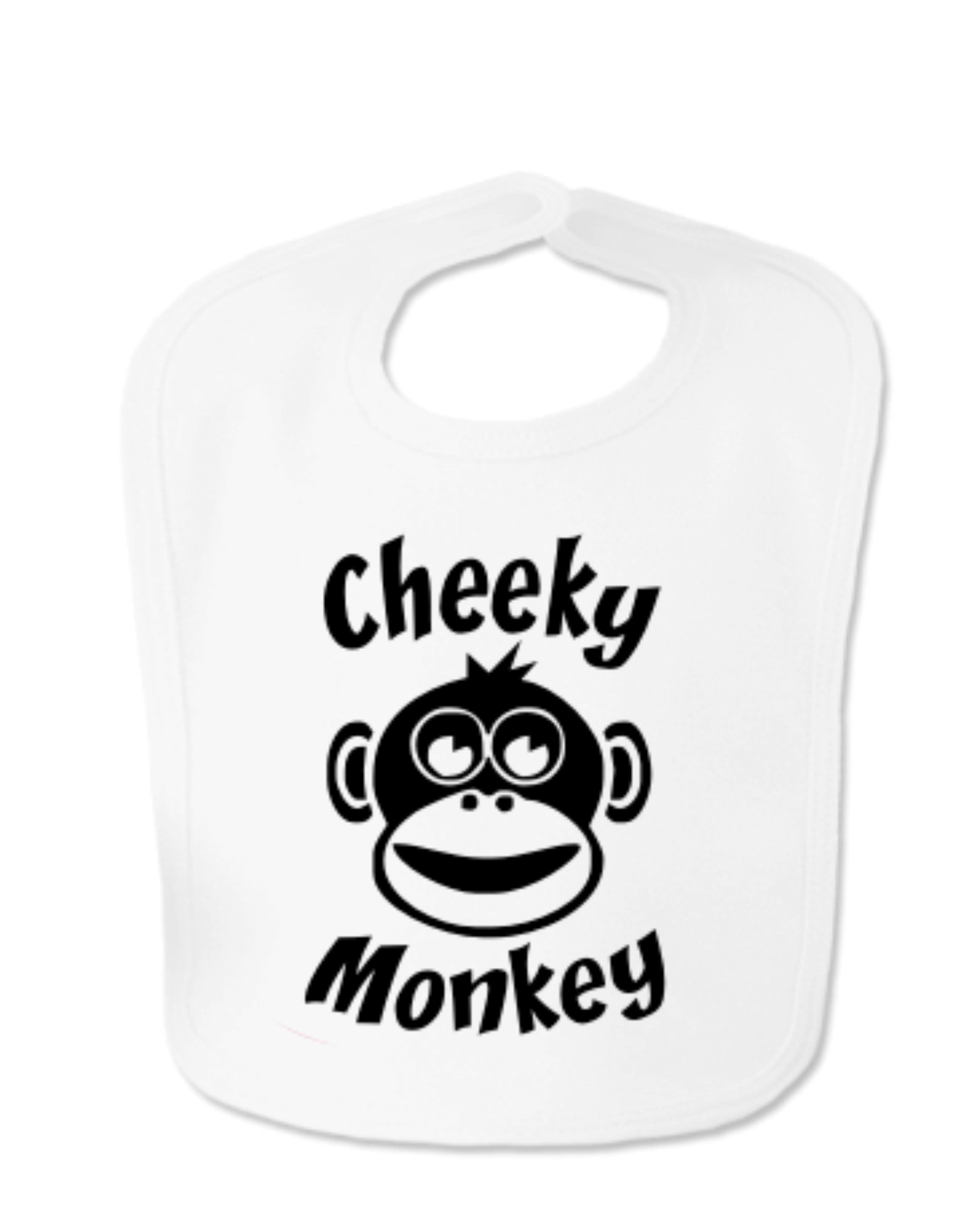 White Cheeky Monkey Velcro Bib