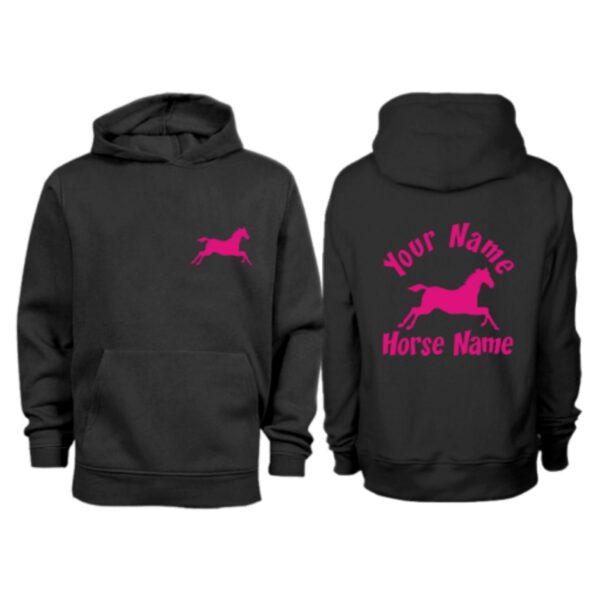 Kids Personalised Cantering Horse Hoodie H3 Black
