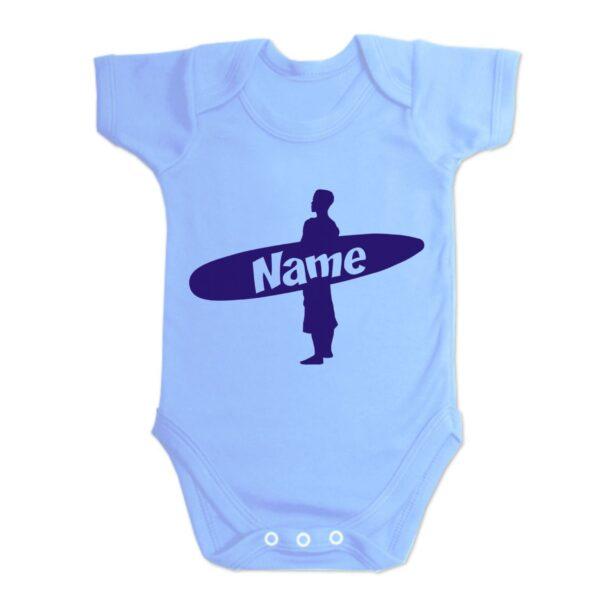 Custom Printed Surfer Baby Vest Blue
