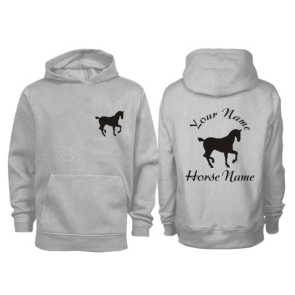 Kids Personalised Trotting Horse Hoodie Grey