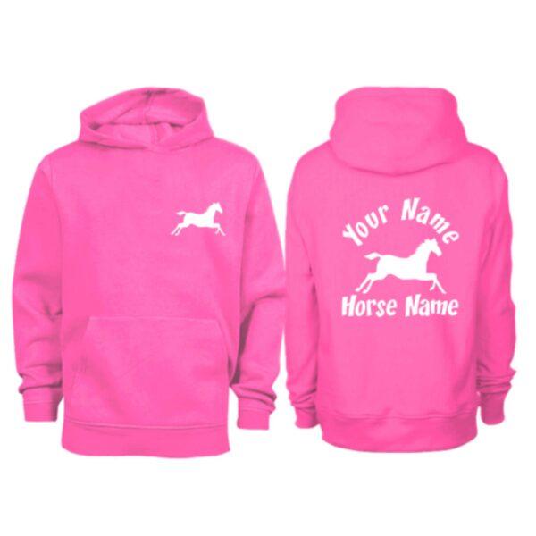 Kids Personalised Cantering Horse Hoodie H3 Hot Pink