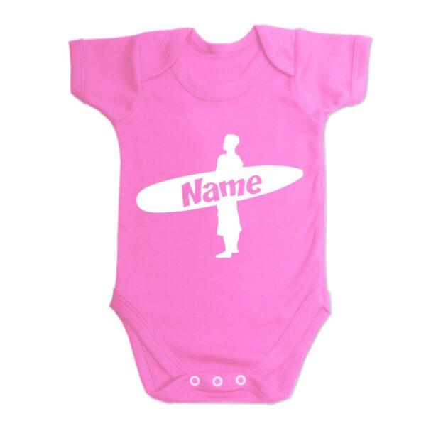 Custom Printed Surfer Baby Vest Hot Pink