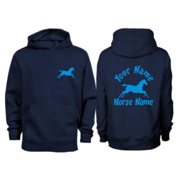 Kids Personalised Cantering Horse Hoodie H3 Navy
