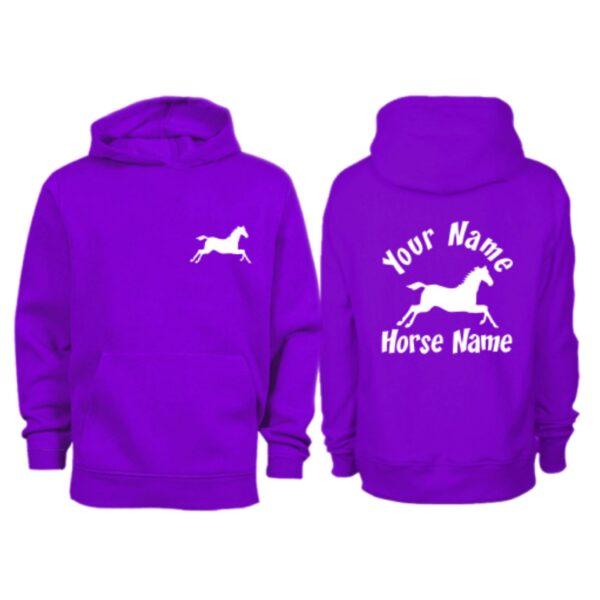 Kids Personalised Cantering Horse Hoodie H3 Purple