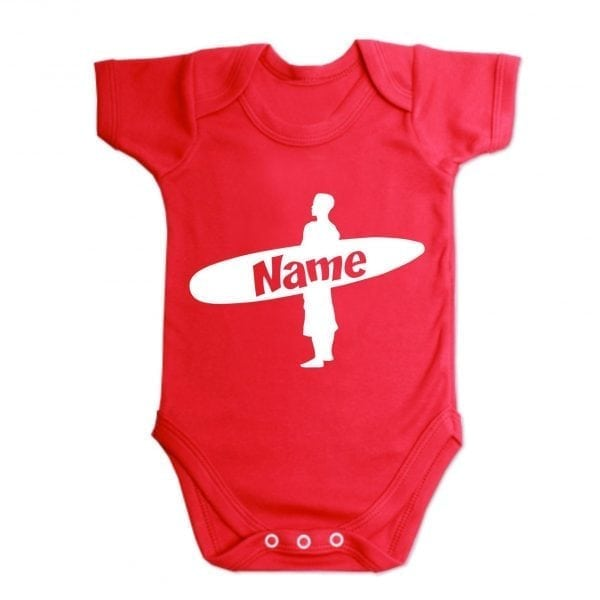 Custom Printed Surfer Baby Vest Red