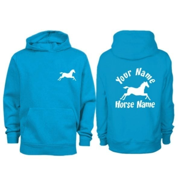 Kids Personalised Cantering Horse Hoodie H3 Sapphire Blue