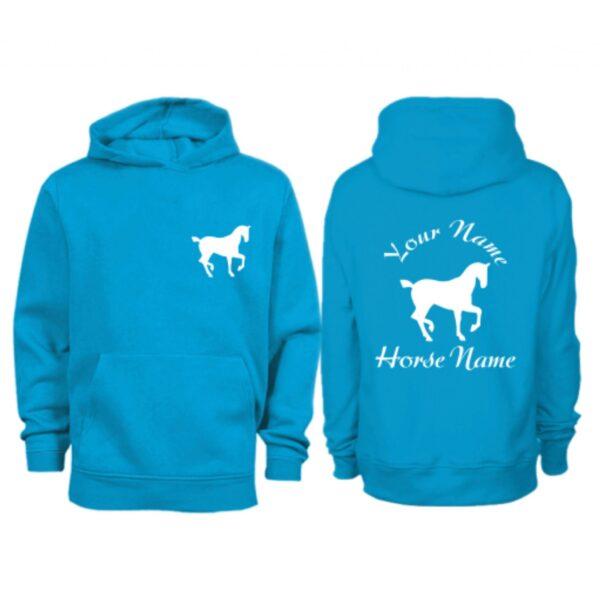 Kids Personalised Trotting Horse Hoodie Sapphire Blue