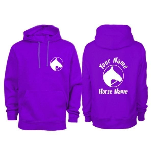 Personalised Purple Adult Horse Head In Circle Horse Hoodie