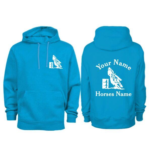 Personalised Adult Sappire Blue Parrel Racing Hoodie