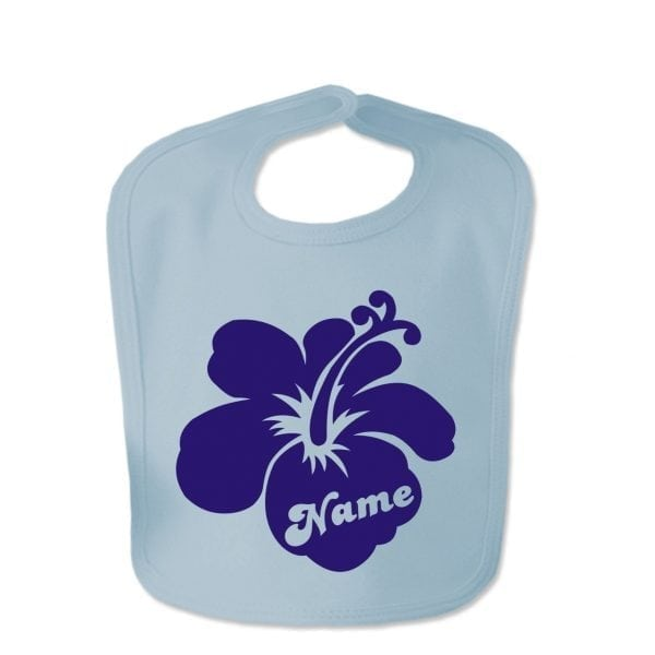 Baby Blue Custom Printed Hibiscus Flower With Childs Name Baby Bib