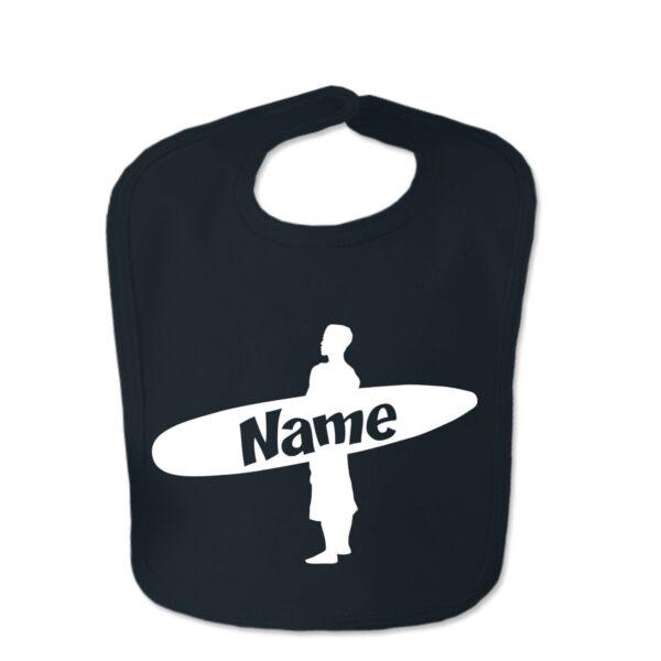 Black Custom Printed Surfer Baby Velcro Bib