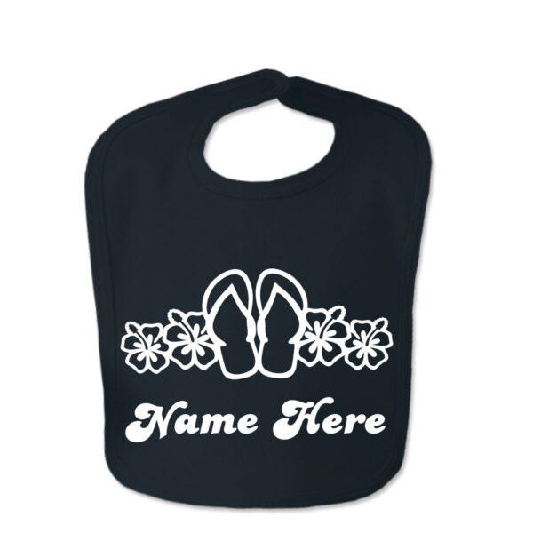 Black Flip Flop Custom Design Baby Velcro Bib