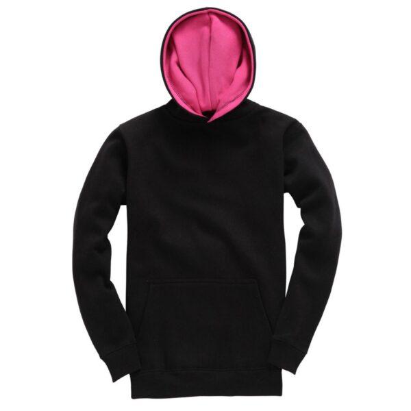 Black and Pink Kids Contrast Hoodie