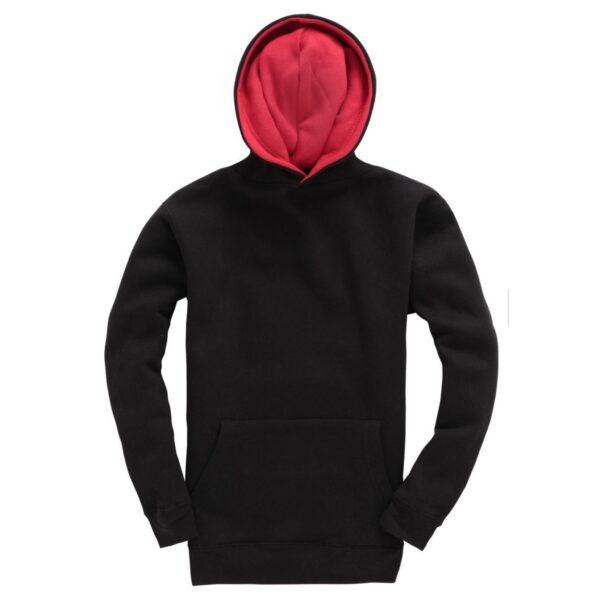 Black and Red Kids Contrast Hoodie