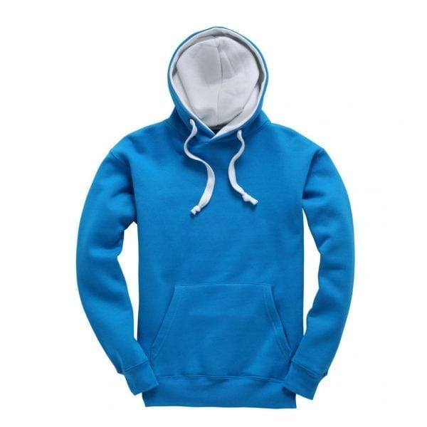 Blue and White contrast adult hoodie