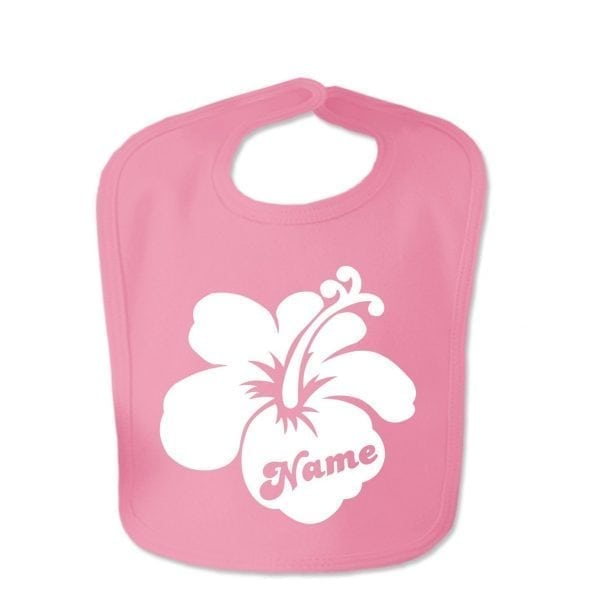 Hot Pink Custom Printed Hibiscus Flower With Childs Name Baby Bib