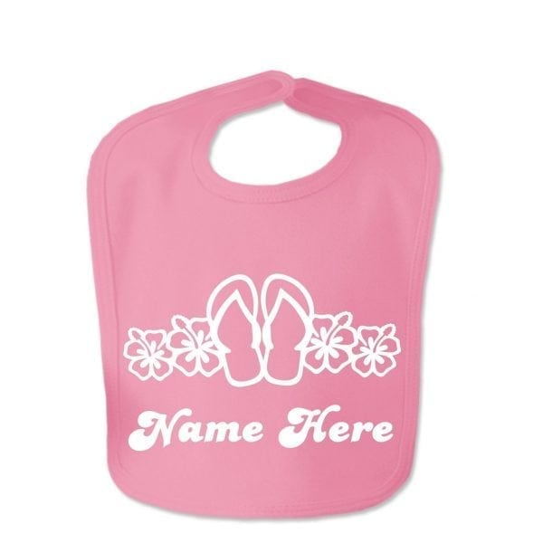 Hot Pink Flip Flop Custom Design Baby Velcro Bib