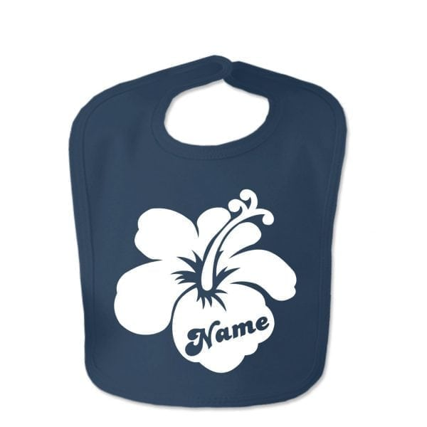 Navy Custom Printed Hibiscus Flower With Childs Name Baby Bib