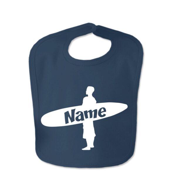 Navy Custom Printed Surfer Baby Velcro Bib
