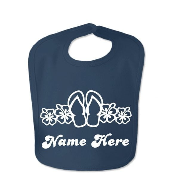 Navy Flip Flop Custom Design Baby Velcro Bib