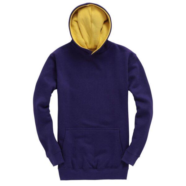 Purple and Yellow Kids Contrast Hoodie