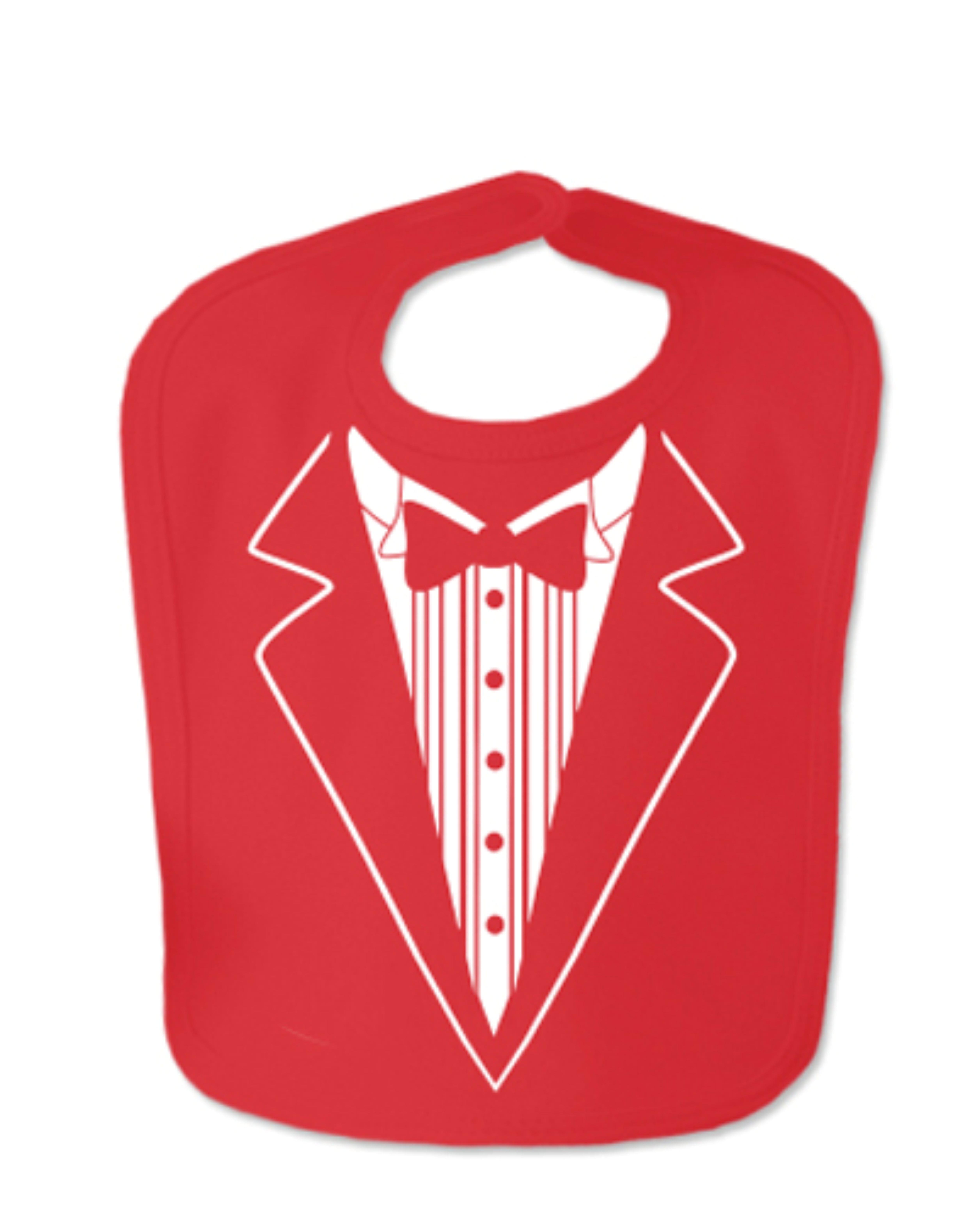 Red Tuxedo Velcro Baby Bib