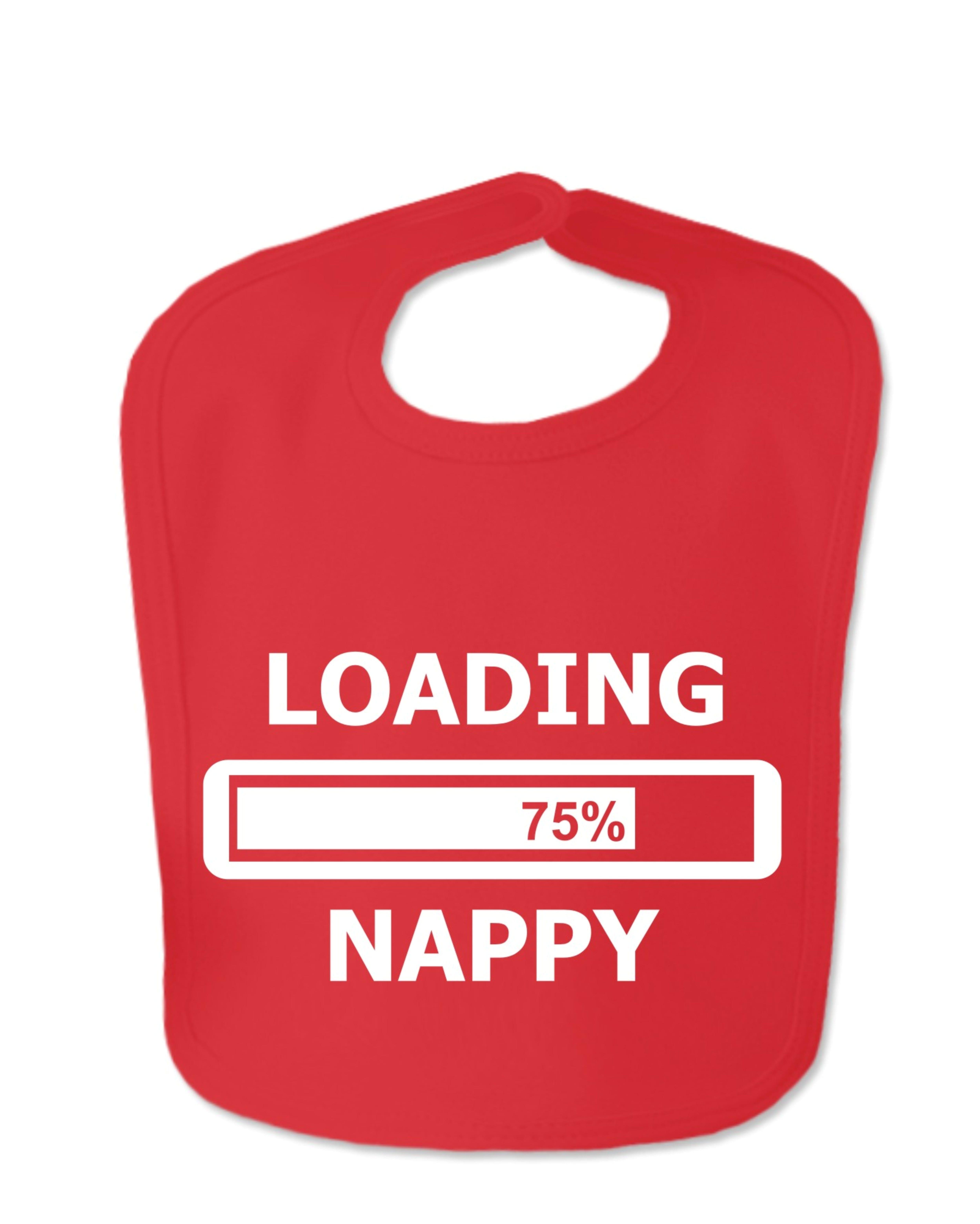Red Loading Nappy Velcro Bib