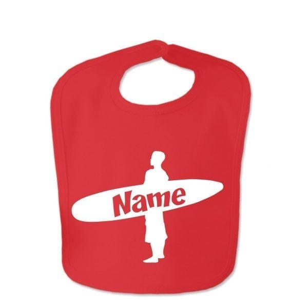 Red Custom Printed Surfer Baby Bib