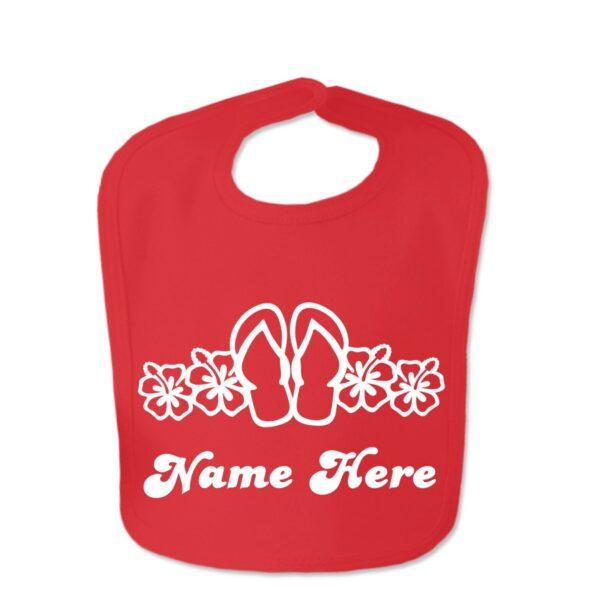 Red Flip Flop Custom Design Baby Velcro Bib