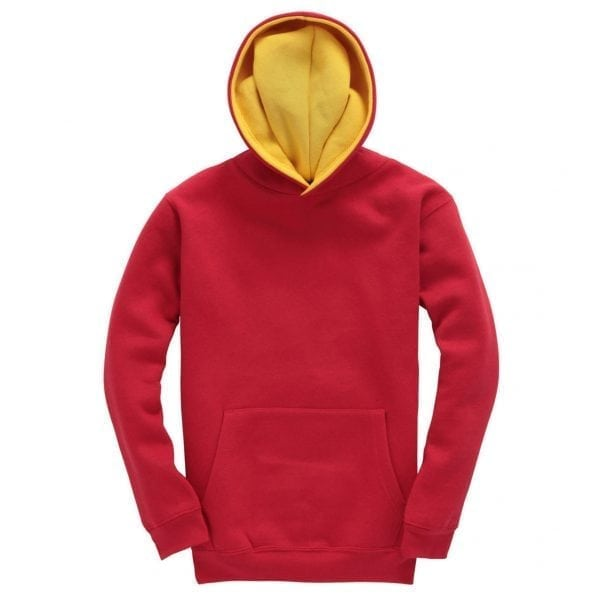 Red and Yellow Kids Contrast Hoodie