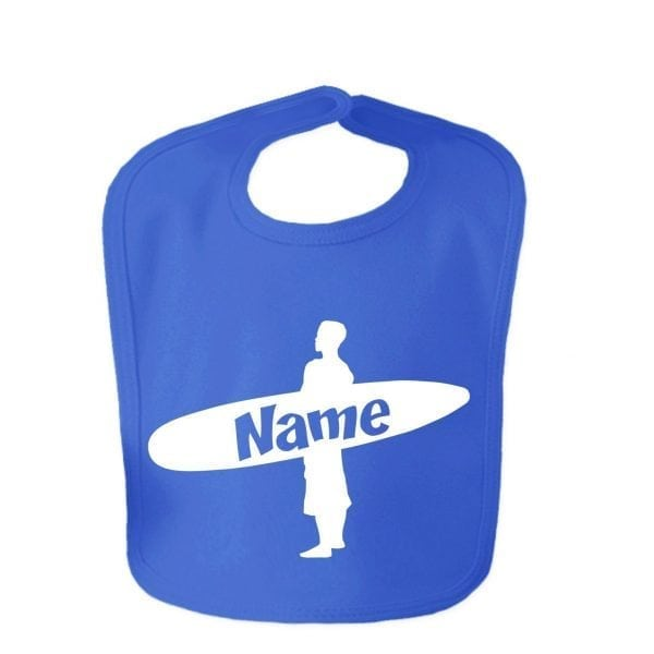 Royal Blue Custom Printed Surfer Baby Velcro Bib