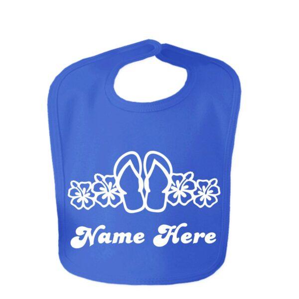 Royal Blue Flip Flop Custom Design Baby Velcro Bib
