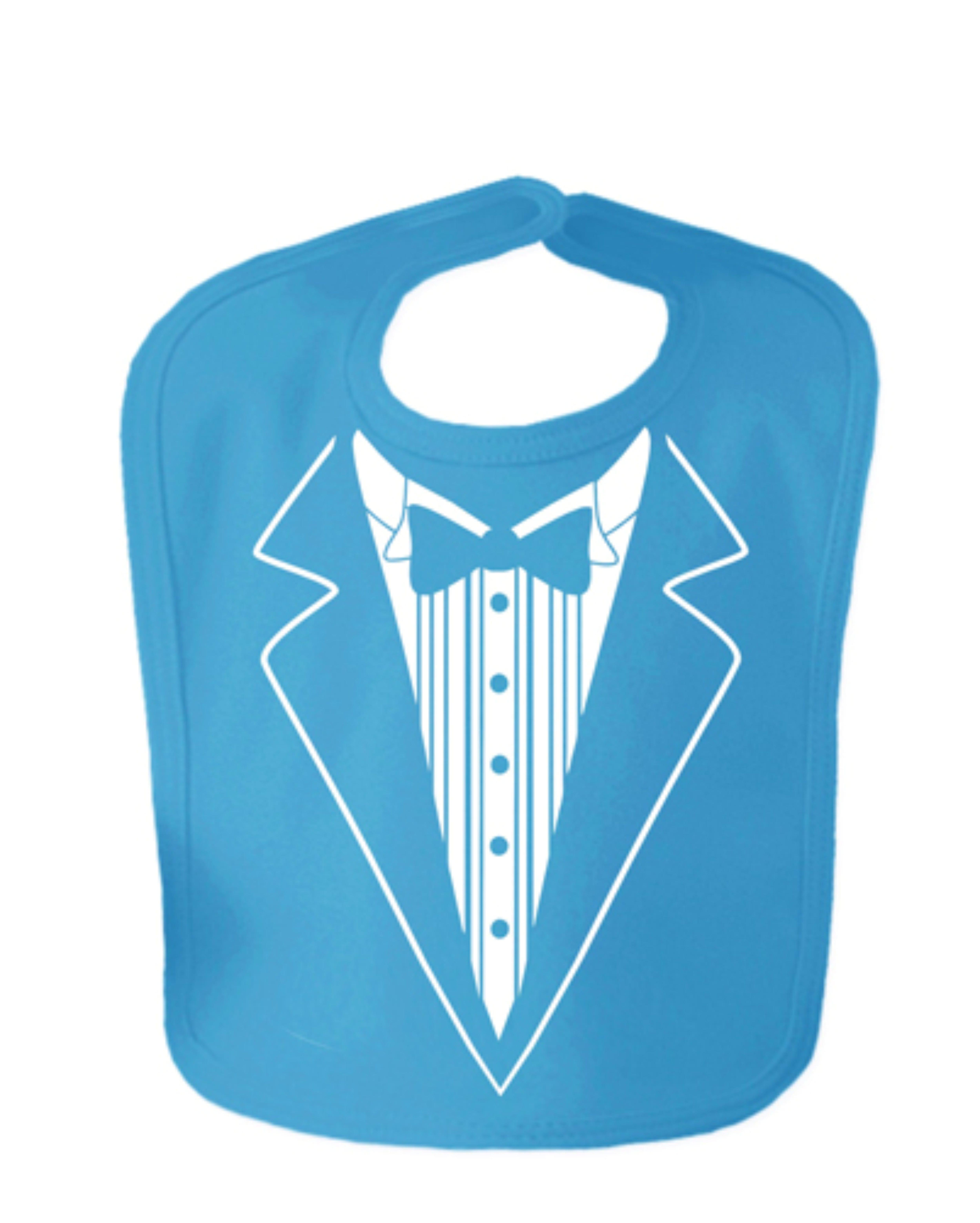 Sapphire Blue Tuxedo Velcro Baby Bib