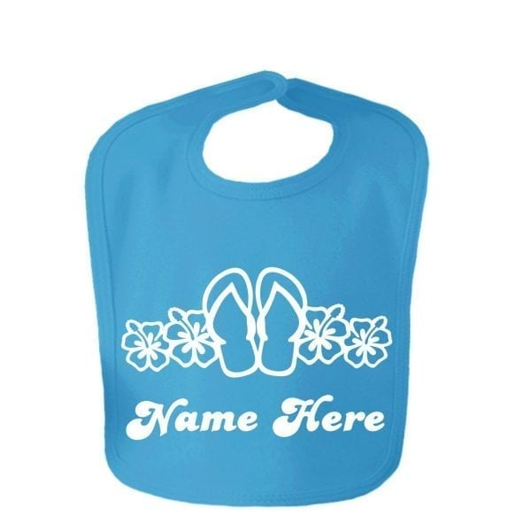 Sapphire Blue Flip Flop Custom Design Baby Velcro Bib