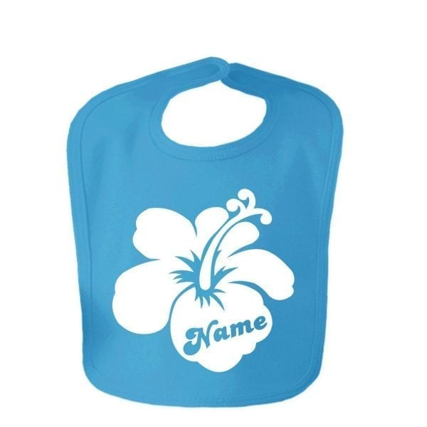 Sapphire Blue Custom Printed Hibiscus Flower With Childs Name Baby Bib
