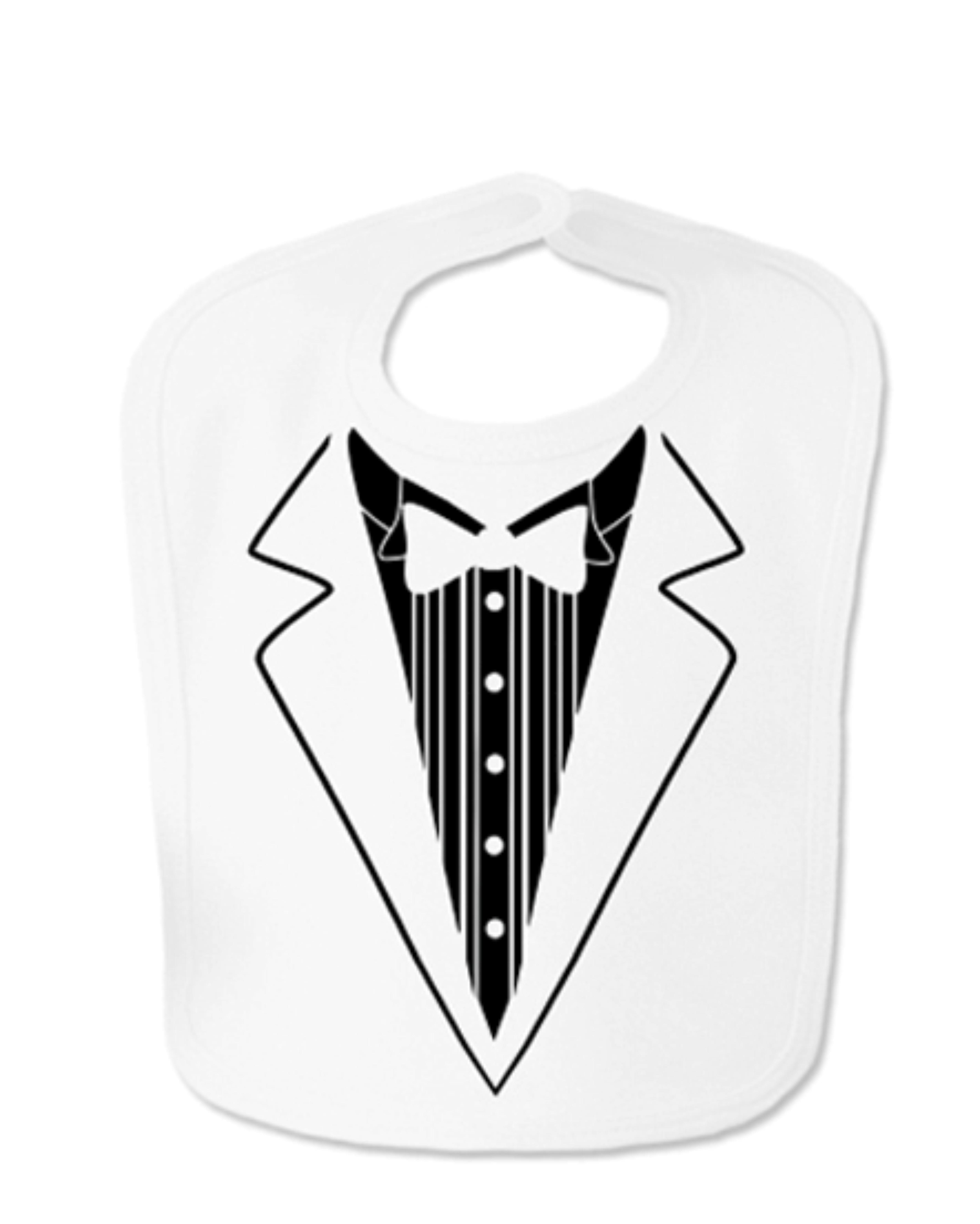 White Tuxedo Velcro Baby Bib
