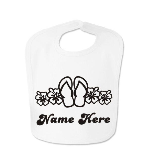 White Blue Flip Flop Custom Design Baby Velcro Bib