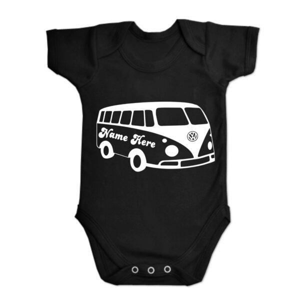 Black Custom Printed Campervan Baby Vest