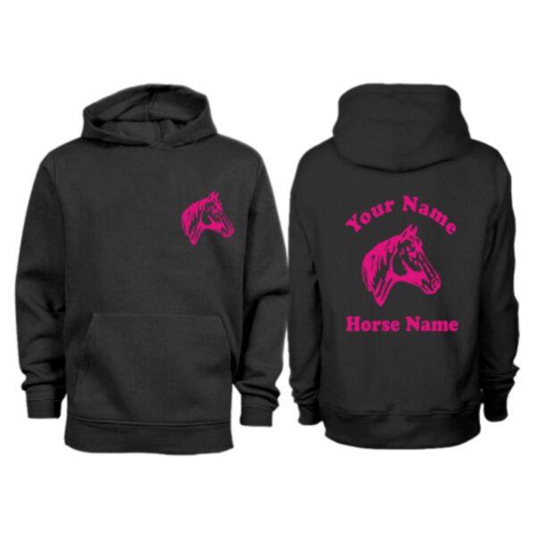 Kids Personalised Horse Head Hoodie H9 Black