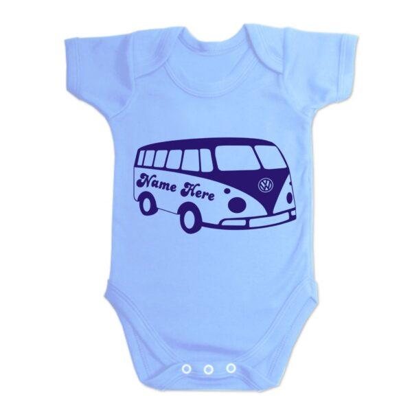 Blue Custom Printed Campervan Baby Vest