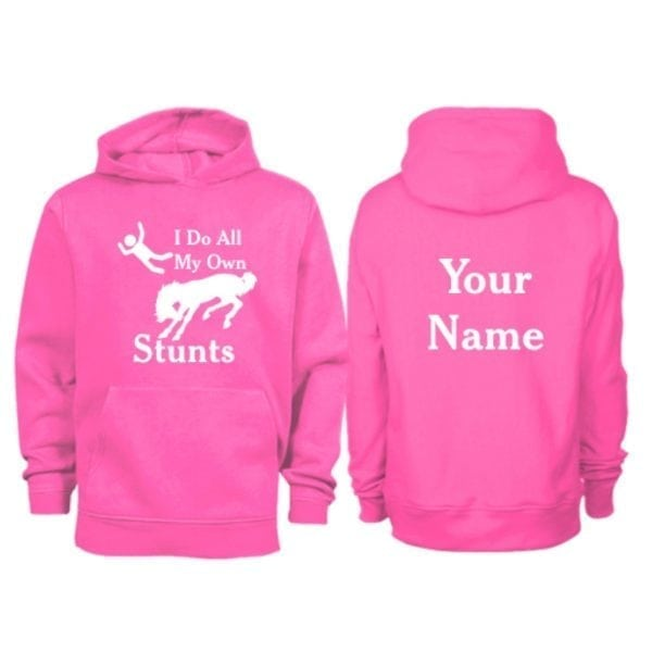 Kids Personalised I do All My Own Stunts Horse Hoodie Hot Pink