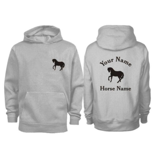 Kids Personalised Horse Hoodie H5 Grey