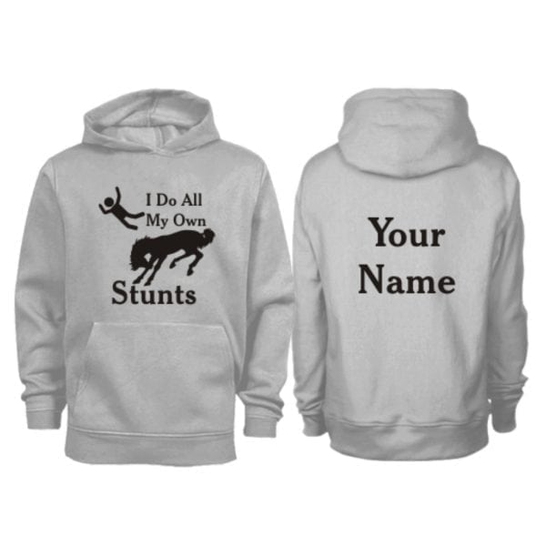 Kids Personalised I do All My Own Stunts Horse Hoodie Grey