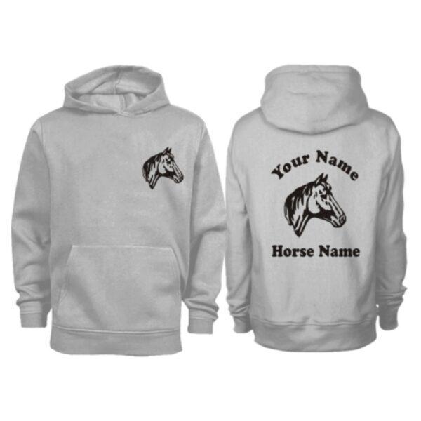 Kids Personalised Horse Head Hoodie H9 Grey