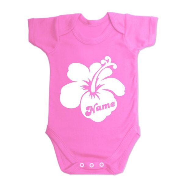Custom Printed Hibiscus Flower Baby Vest Hot Pink