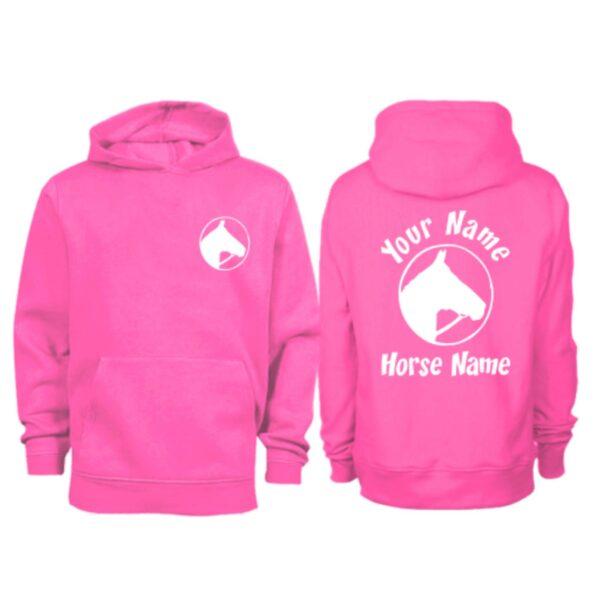 Kids Personalised Horse Head In Circle Horse Hoodie H2 Hot Pink