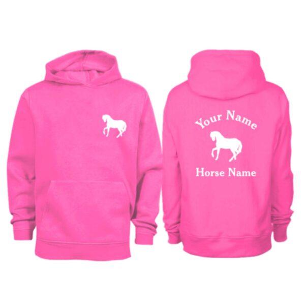 Kids Personalised Horse Hoodie H5 Pink